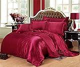 Juego de ropa de cama de seda de satén de lujo, funda de edredón y sábana bajera ajustable para cama individual, tamaño King 09, 6 unidades