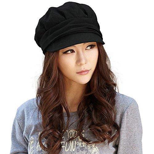2020 Nuevas Mujeres Newsboy Cabbie Boina Cap Cloche Algodón Pintor Visor Sombreros - Negro - Talla única