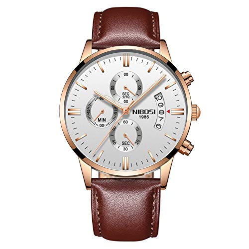 NIBOSI chronograph Men's Watch (White Dial Brown Colored Strap)