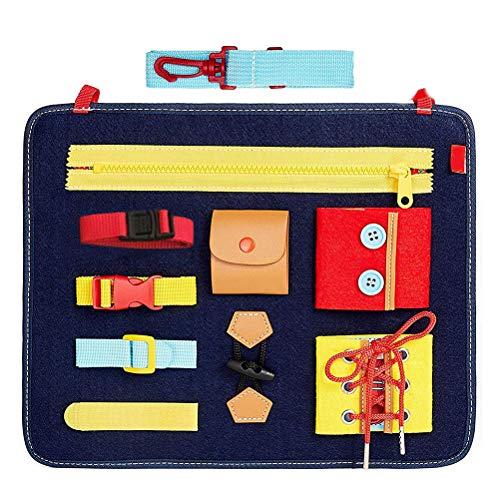 Einsgut Baby Busy Board Montessori Basic Skills Activity Board Impara a Mettere su Giocattoli educativi educativi per l'apprendimento precoce Libro di apprendimento delle conoscenze di Base