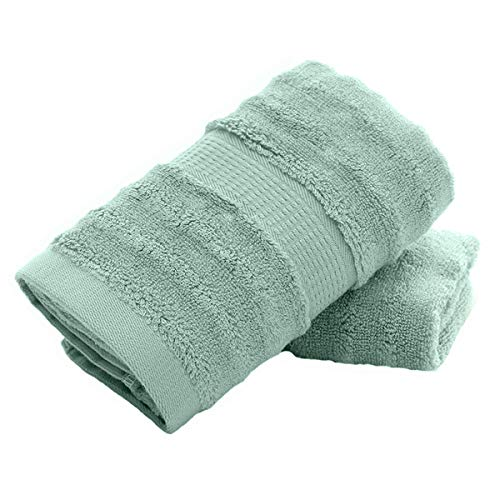 YAMAMA Hand Towels Set of 2 , Bamboo Fiber Super Soft Highly Absorbent Towel for Bathroom 13x 30 Inch (Green)