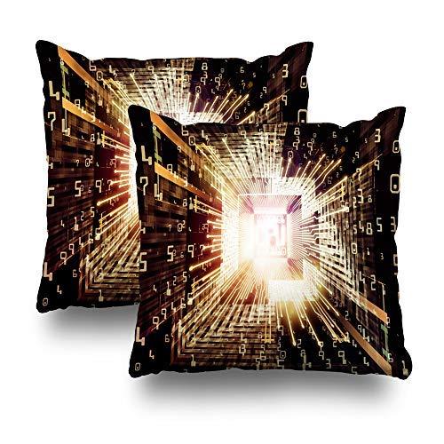 GFGKKGJFD Juego de 2 fundas de cojín de bola de 18 x 18 cm, diseño de árbol de Año Nuevo verde con luces rojas y blancas y guirnaldas, para sofá, adolescentes, regalos