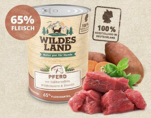 Wildes Land | Nassfutter für Hunde | Nr. 3 Pferd | 6 x 400 g | mit Süßkartoffeln, Wildkräutern & Distelöl | Glutenfrei | Extra viel Fleisch | Beste Akzeptanz und Verträglichkeit