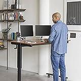 Kurbelverstellbarer Sitz-Stehtisch – Wohnung Schreibtisch (Rahmen schwarz / Teakholz, Schreibtisch Länge: 150cm) - 3