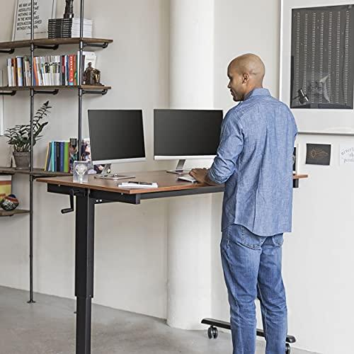 """Stand Up Desk Store Crank Adjustable Height Rolling Standing Desk (Black Frame/Teak Top, 60"""" Wide)"""