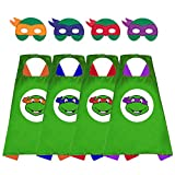 Superhero Capes TMNT Ninja Turtle Costume Toys for 3-10 Year Old Boys Birthday Gift Party Supplies 4 Thermal Pransfer Satin Cape with Felt Mask
