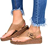 JSONA Women's Sandal Classic Leather Flat Orthotic Wedge Casual Summer Shoes Slip on Light Weight Sandals with Arch Support for Hiking Outdoor,Blue,42