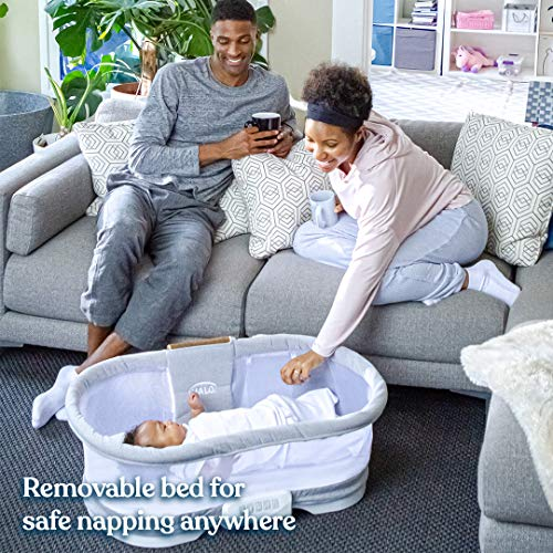 HALO BassiNest Swivel Sleeper, Bedside Bassinet, Removable Bed, Soothing Center with Nightlight, Vibration and Sound, Luxe Series, Dove Grey Tweed