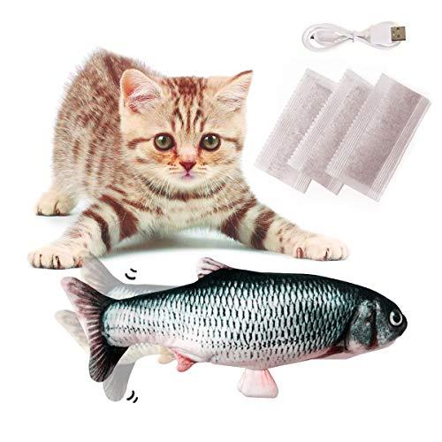 Vockvic Juguetes del Catnip, Electrico Recargable USB Juguetes Simulación Peluches Pescado, 30CM Divertido Interactiva Mascota Pescado Juguetes para Gato/Gatito