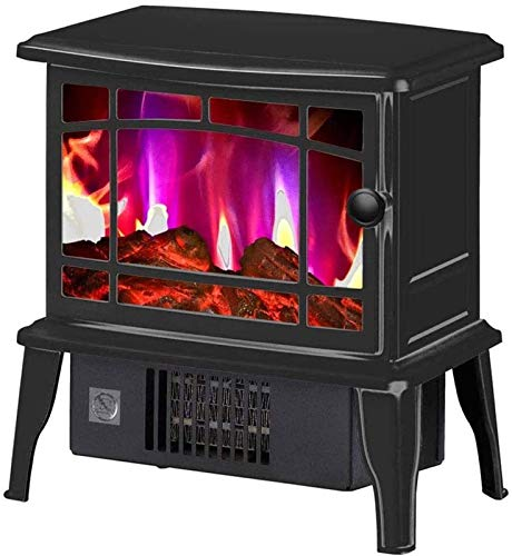 RTUTUR Electric Fireplace Heater - Portable Fireplace Stove with Wood Burner Flame Effect - Freestanding Fireplace Stove Indoor Heater -1500W Red (Color : Black)
