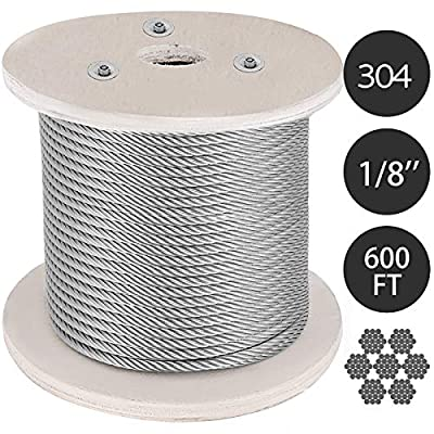 Mophorn 304 Stainless Steel Cable 1/8 Inch 7 X 19 Steel Wire Rope Steel Cable for Railing Decking DIY Balustrade