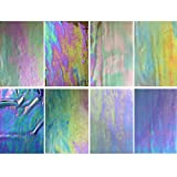 LITMIND 8 Pack Stained Glass Sheets Variety Pack, 4 x 6 inch Iridescent Glass Sheets for Beginners, Mosaic Tiles for Crafts, Art Glass Pack (Opaque/Iridescent)