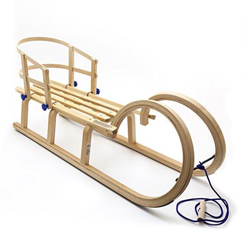 Holzfee Hörnerschlitten Colint Baran 110 RL Hörnerrodel mit Zugleine + Lehne Schlitten-Set