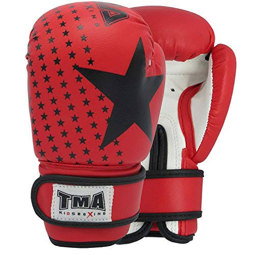 TMA Kids Boxing Gloves Best for Kickboxing, Martial Arts, MMA, Muay Thai 2-oz(RED)