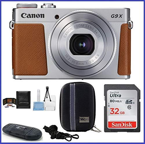 Canon PowerShot G9 X Mark II Digital Camera (Silver) Bundle Includes: 32GB SDHC Class 10 Memory Card, Card Reader, Camera Case & More.