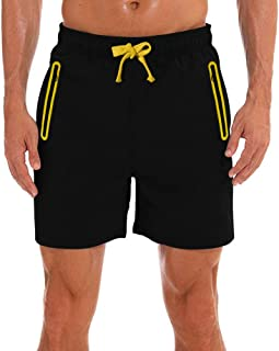 DUOFIER Men's Quick Dry Shorts Gym Running Shorts with Zipper Pockets