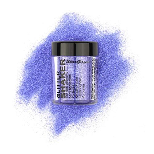 Stargazer UV Glitter Shaker, Morado. Polvo cosmético con purpurina para uso en ojos, labios, cara, cuerpo, cabello y uñas.