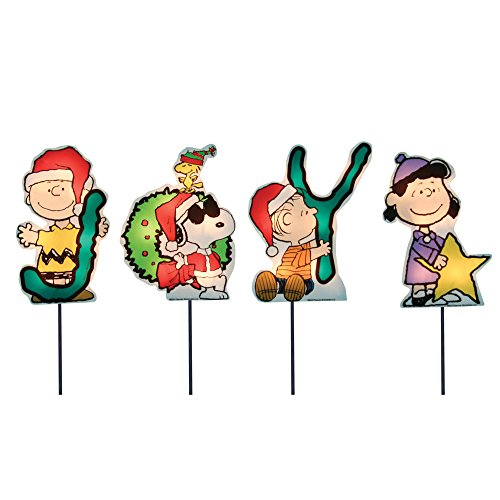 ProductWorks 60421 8-Inch Pre-Lit Peanuts Joy Christmas Pathway Markers (Set of 4) Holiday Decor, Incandescent