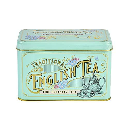 New English Tés Vintage Victoriano Lata con 40 bolsitas de té de desayuno inglés