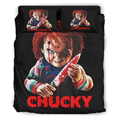 WellWellWell Chucky Halloween terror, juego de cama de 4 piezas, color liso,...