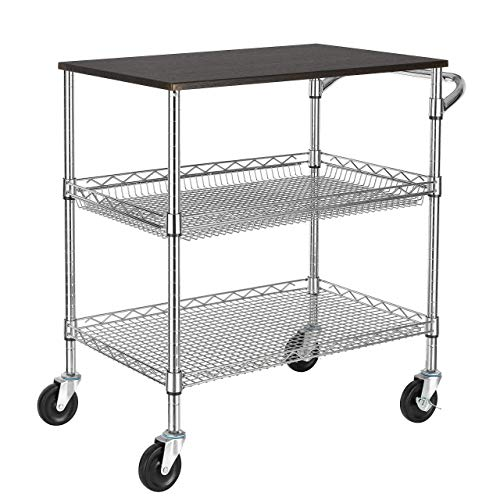 Finnhomy 3 Tier Heavy Duty Commercial Grade Utility Cart with Wood Top Wire Rolling Cart with Handle Bar Steel Service Cart with Wheels Utility Shelf Food Storage Trolley NSF Listed