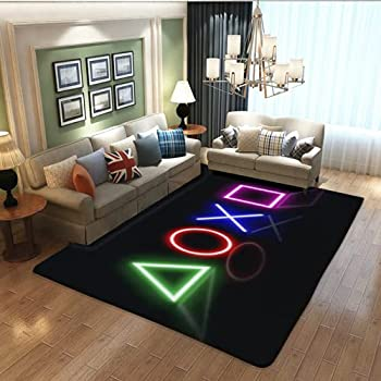 Teen Boys Carpets Printed Gamepad Living Room Mat Gamer Bedroom Area Rugs Controller Player Home Decor Non-Slip Crystal Sofa Floor Polyester Mat (39x60inches)