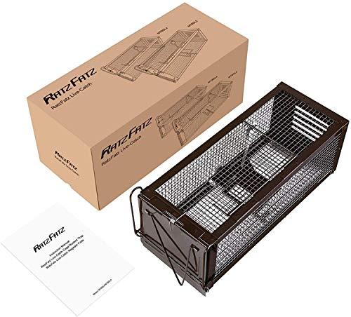 RatzFatz Jaula de trampa de metal para atrapar animales vivos pequeños como ratas, ratones, martas de haya u otros animales salvajes - Tamaño XXL - Sensibilidad ajustable - Negro