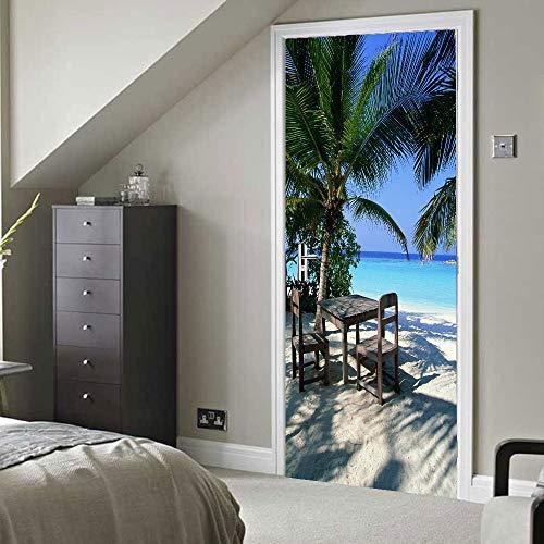 XKLBO Deursticker Muurschilderingen Fotobehang Decal, Palm Tree,38.5 * 200Cm * 2 Stks 3D Woonkamer Slaapkamer Kantoor Huis Home Decor Kwekerij Restaurant Café Hd Creatieve Poster
