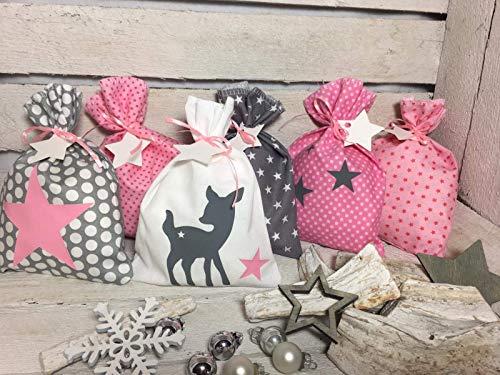 Adventskalender Säckchen 24 Stoffsäckchen Beutel zum befüllen rosa grau Reh Handmade by Sinchns Bastelzauber