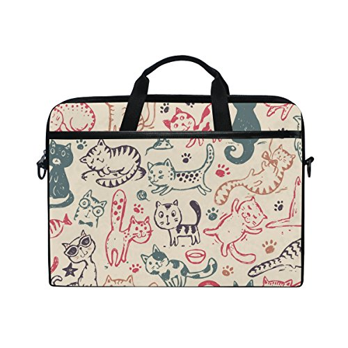 Laptop Case, Cute Cats Printed with 3 Compartment Shoulder Strap Handle Canvas Notebook Computer Bag Personalised Perfect for Boys Girls Women Men 13 13.3 14 15 inch