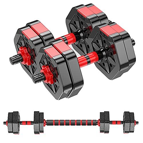 MOJEER ダンベル 可変式【最新進化版・3in1】10kg 20kg 30kg 40kg 2個セット バーベルにもなる ダンベル 無臭素材 静音 008 (5kg×2個セット/赤)
