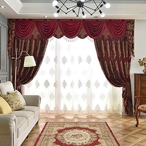 Queen's House Luxury Burgundy Waterfall Valance and Curtains Set Custom Size