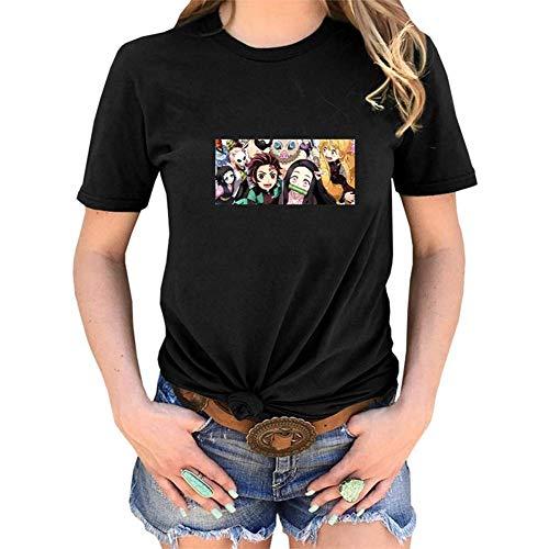Christ For Givek Demon Slayer: Kimetsu Nein Yaiba T-Shirt, Anime Cartoon Aufdruck Rundhals Kurzärmlig T-Shirt Kurzärmlig für Liebhaber Herren und Damen Anime Ventilatoren - Black-13, S