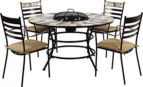 Grilltisch incl. 4 Stühle Set Feuertisch Lucon 135 cm Gartentisch Grill
