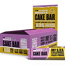 LOW SUGAR - Less than 1g per whole bar HIGH FIBRE - Over one third of your recommended daily intake REDUCED CALORIE - Only 131kcal per massive 60g bar CHUNKY DOUBLE CHOCOLATE - Chocolate flavoured cake with generous chocolate flavoured coating