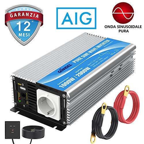 Giandel Wechselrichter mit reiner Sinuswelle, 1000 W, Wechselrichter mit Gleichstrom 12 V auf AC 220 V, 230 V, Konverter mit Fernbedienung mit AC-Stecker und 2,4 A USB-Port für RV Truck Car