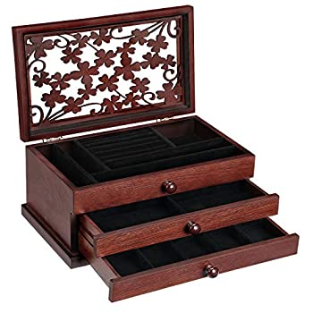 SONGMICS Wooden Jewelry Box with Floral Carving Jewelry Organizer with Lift-Out Tray and 2 Removable Pull-Out Drawers Gift for Loved Ones Mahogany Color UJOW14BR
