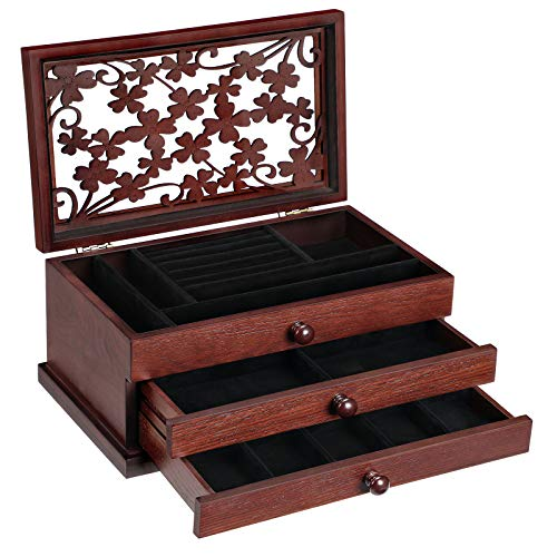 SONGMICS Wooden Jewelry Box with Floral Carving, Jewelry Organizer with Lift-Out Tray and 2 Removable Pull-Out Drawers, Gift for Loved Ones, Mahogany Color UJOW14BR