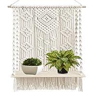 Macrame Wall Hanging Plant Decor Shelf Indoor Outdoor Floating Wood shelve Decorative Hand Made Rope Boho Shelving for Plants