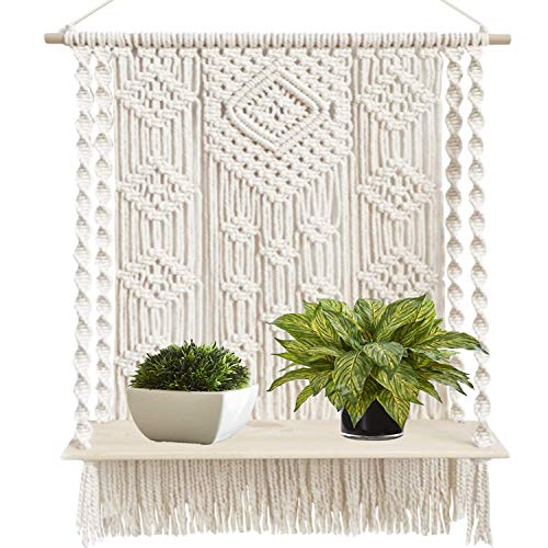 Macrame Wall Hanging Plant Decor Shelf Indoor Outdoor Floating Wood...