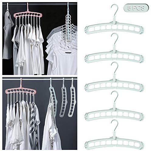 Magie Kleidung Kleiderbügel Organizer, Drehen Anti-Rutsch-Aufhänger, Faltschiebetüren Kleiderbügel, Schrank Lagerung platzsparende Kleiderbügel, Kunststoff Standard Aufhänger mit 9 Löchern for Erwachs