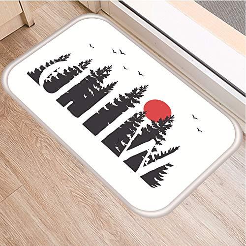HLXX Alfombra Blanca y Negra Antideslizante con diseño de Ballena de Luna de Bosque, Felpudo para Puerta, Alfombra Interior para Cocina, Alfombra A9 40x60cm
