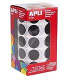 APLI Kids - Rollo de gomets redondos 20 mm, color negro