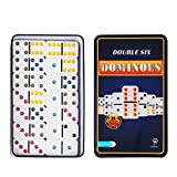 Doublefan Color Dominoes Game Set ,Double Six Mexican Train Dominoes in Tin, Color Double 6 Dominoes Colored Dot Dominoes with Reusable Collectors Tin 28 Tiles, Family Choice (2-4 Players)