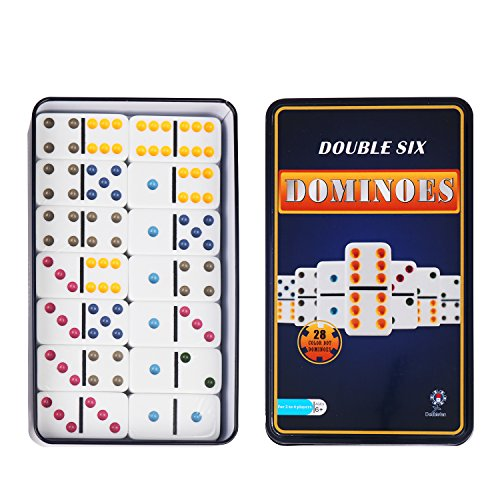 Doublefan Color Dominoes Game Set, Double 6 Color Dot Dominoes with...