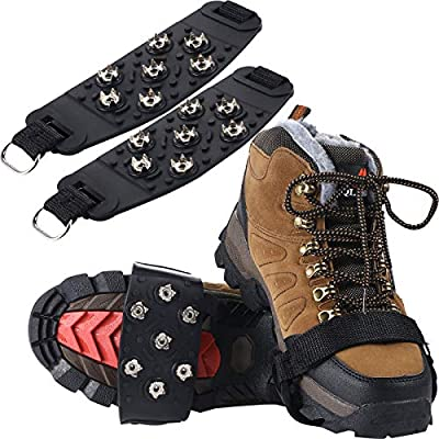 2 Pairs Traction Cleats Ice Snow Grips 7 Crampons Spikes Anti-Skid Stainless Steel Spikes for Shoes Boots Hiking Ice Fishing