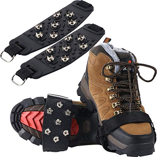 2 Pairs Traction Cleats Ice Snow Grips 7 Crampons Spikes AntiSkid Stainless Steel Spikes for Shoes Boots Hiking Ice Fishing