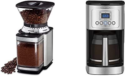 Cuisinart DBM-8 Supreme Grind Automatic Burr Mill, Stainless Steel & DCC-3200P1 Perfectemp Coffee Maker, 14 Cup Progammable with Glass Carafe, Stainless Steel