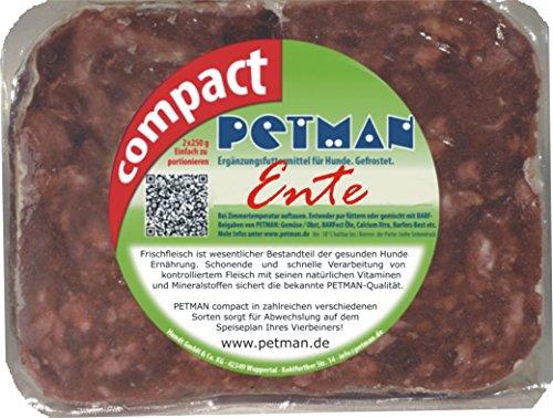 petman compact Ente, 12 x 500g-Beutel, Tiefkühlfutter, gesunde, natürliche Ernährung für Hunde, Hundefutter, Barf, B.A.R.F.