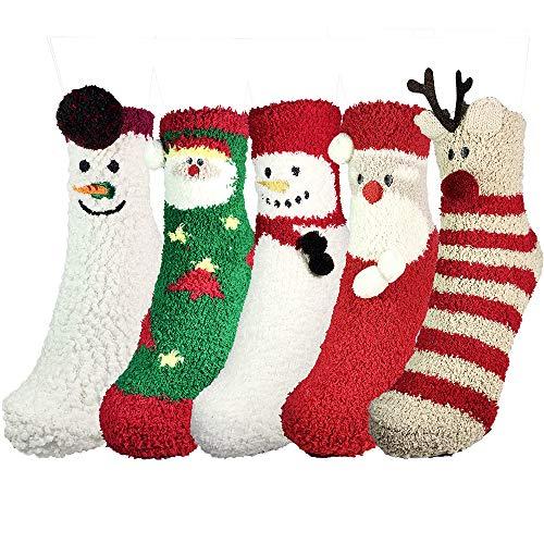 Fuzzy Socks Christmas 5 Pairs Fluffy Slipper Socks Girls Women Christmas Socks Colorful Fuzzy Socks for Women Xmas Socks